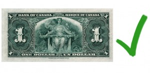 Bank of Canada 1935 series, $1, back, agricultural allegory