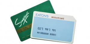 Charge cards from the former Simpsons and Eaton's stores— late 1980's