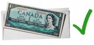 Acrylic and mylar envelopes will keep bills flat, dry and away from acids
