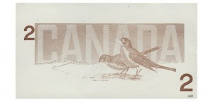 Back proof (test print) of Birds of Canada Series, 1986 $2 bill, red ink only