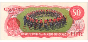 Back of $50 bill from Scenes of Canada Series, 1975. Showing the Musical Ride