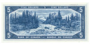 Back of $5 bill from Canadian Landscape Series, 1954. Showing Otter falls, YT