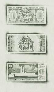 Proposed back models by Charles Comfort for the 1954 Bank of Canada series