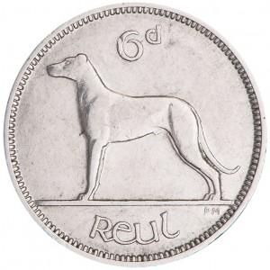 Irish Free State sixpence, 1928 / État libre d'Irlande, six pence, 1928