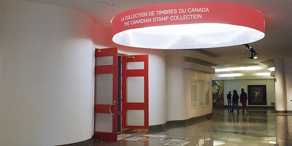 The Canadian Stamp Collection gallery, behind the Great Hall, Canadian Museum of History