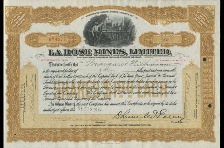 La Rose Mines Limited., stock certificate, 10 shares, 1918