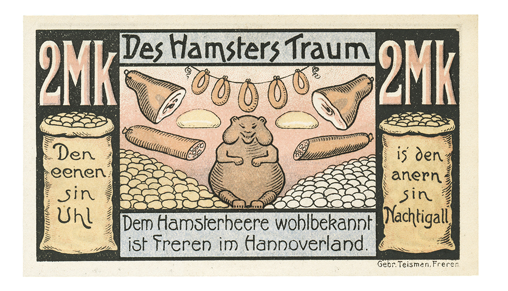 "Freren, Germany notgeld entitled ""The Hamster Dream"" is social satire at its best"