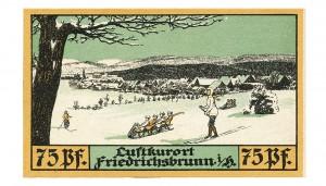 Winter scene depicting life in Friedrichsbrunn, Germany during 1921