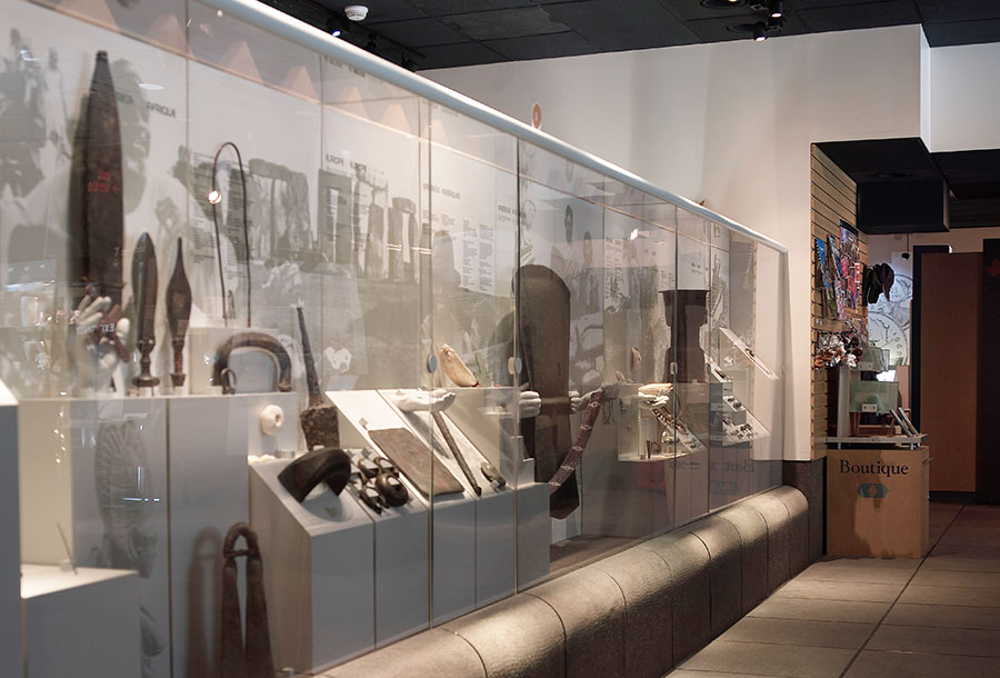 gallery 1 of the old Currency Museum, with showcases and artifacts