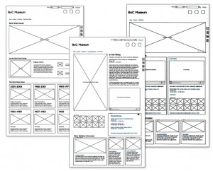 A 'wireframe diagram'. A design layout plan showing locations of website features and content.
