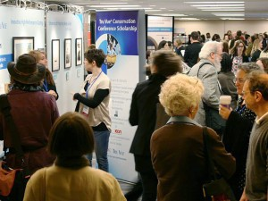 Crowds and trade show booths
