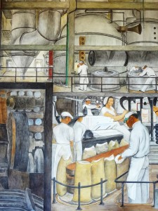 Large painting of workers