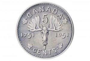 Coin design drawing with a moose on it.