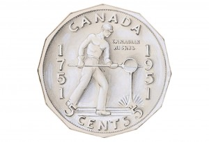 Drawing of coin design featuring a man operating a drill.