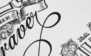 Bank note style lettering