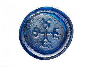 flat, blue glass disc