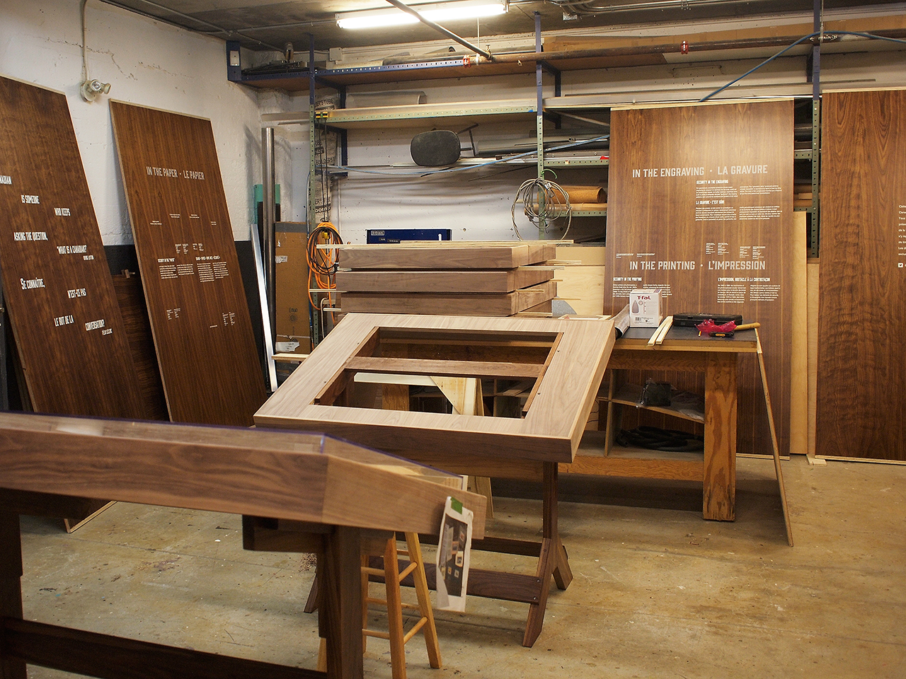 Workshop and wood panels