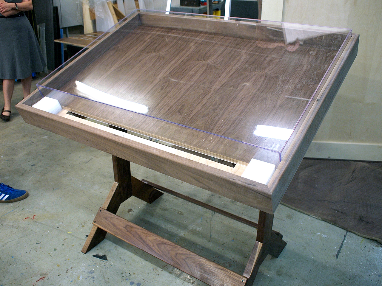 Table with acrylic box