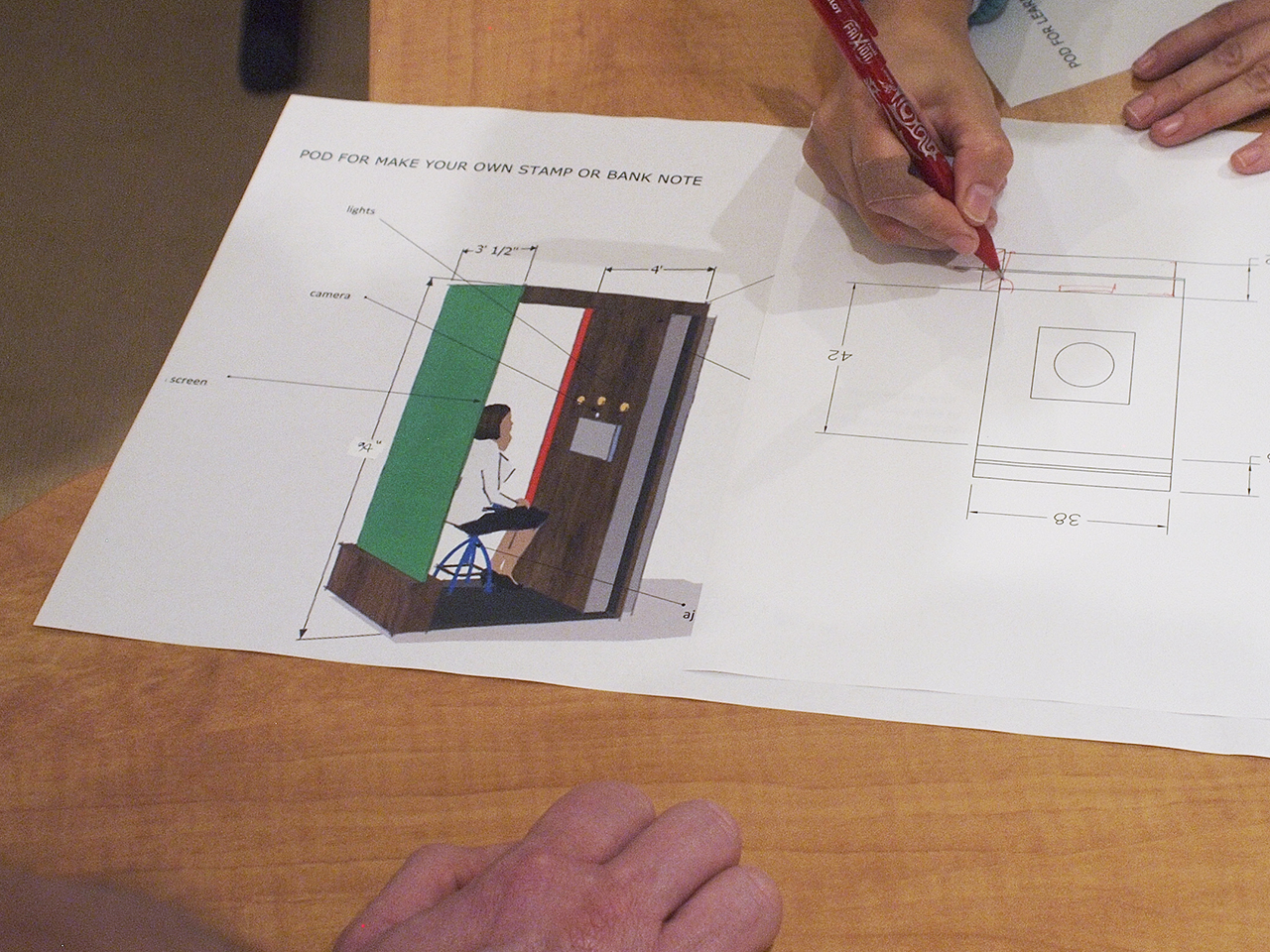 Technical drawing of a booth