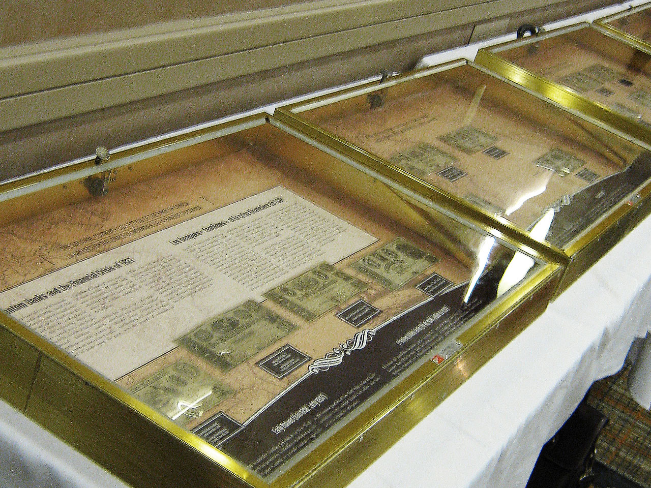 Display cases of bank notes