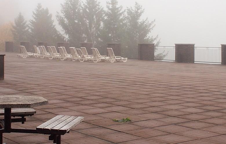 Sundeck in fog