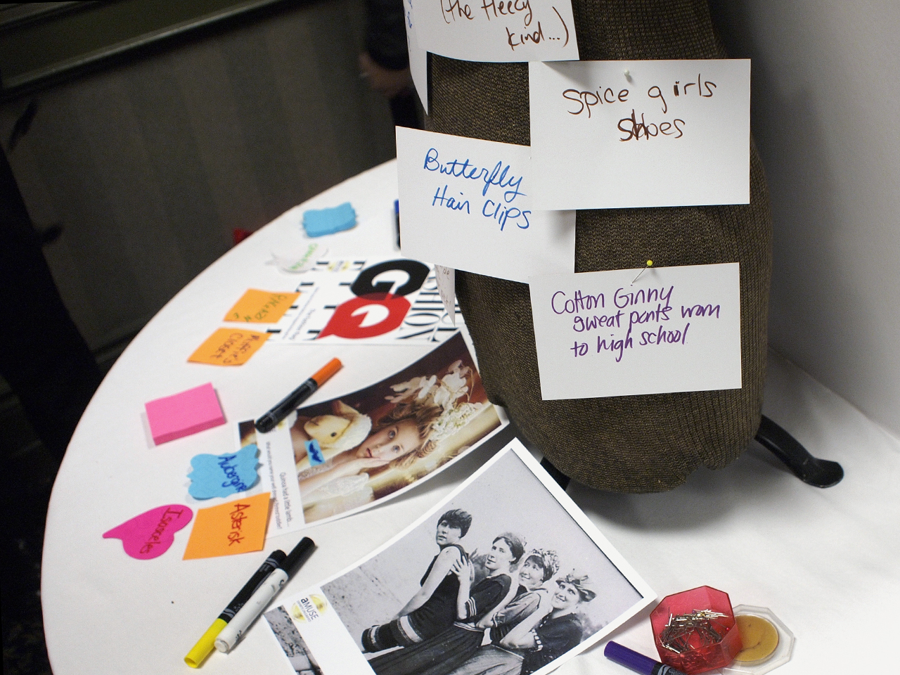 table with celebrity pictures