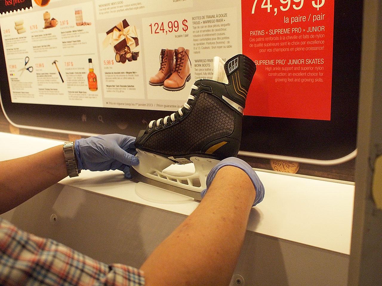 Hand placing a skate