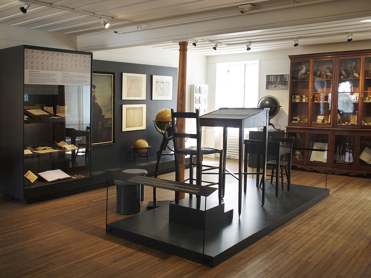 Museum gallery with desks
