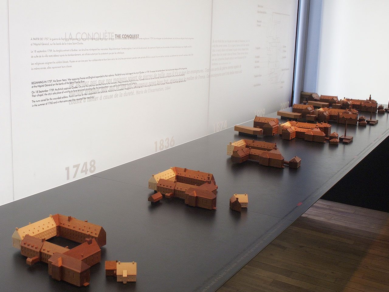 Wooden models of buildings