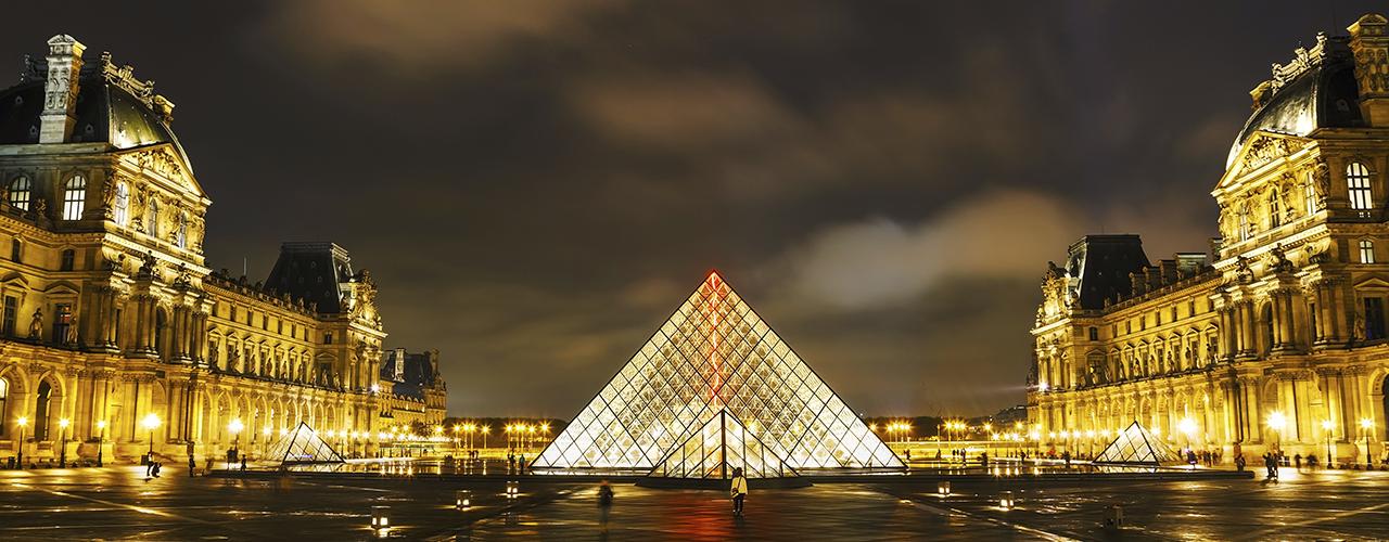 Big glass pyramid in a square