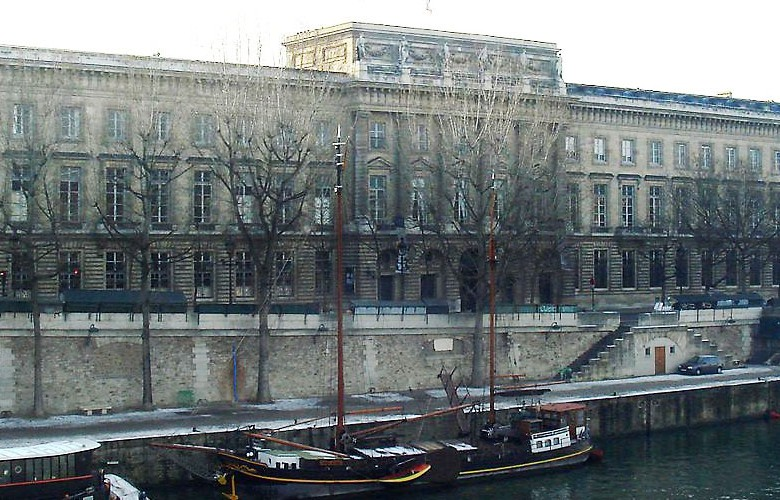 Large, old building and canal