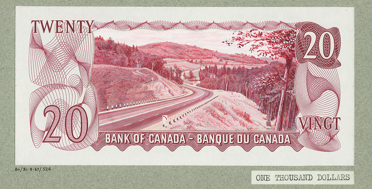 Bank note with mountain road