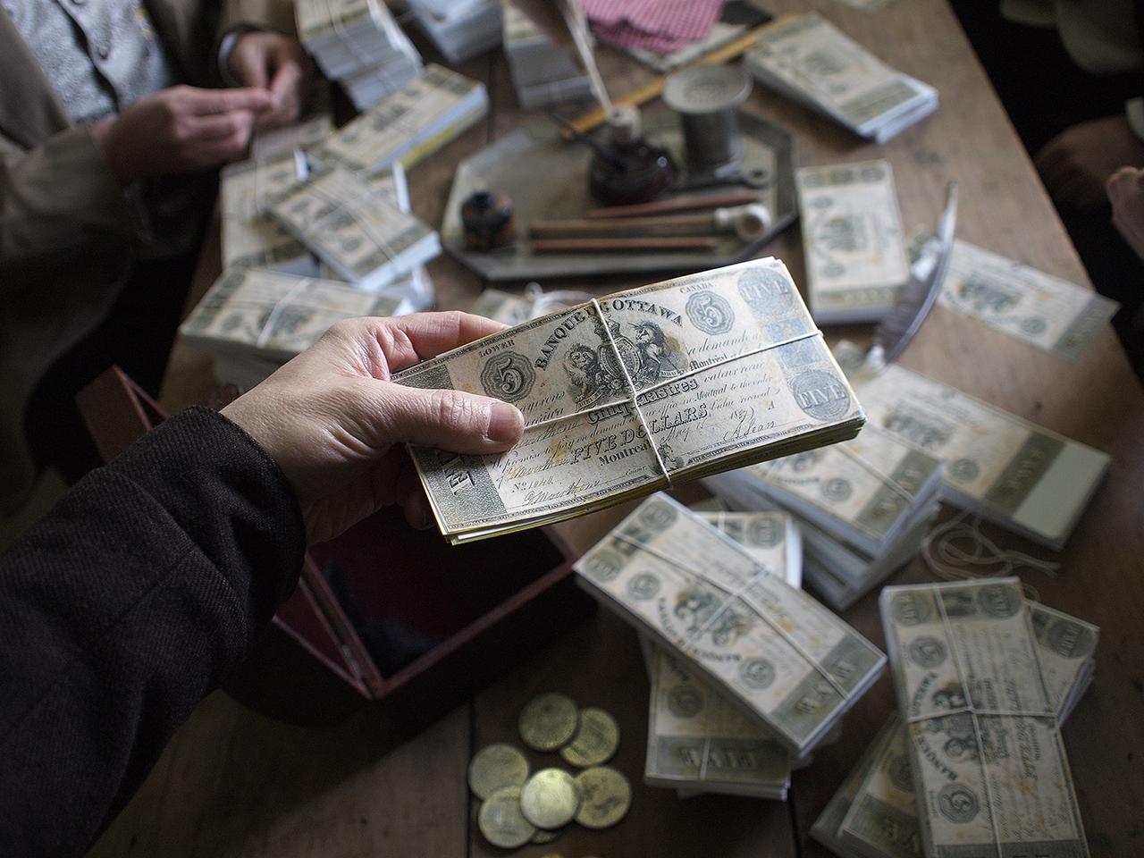 Stacks of fake money