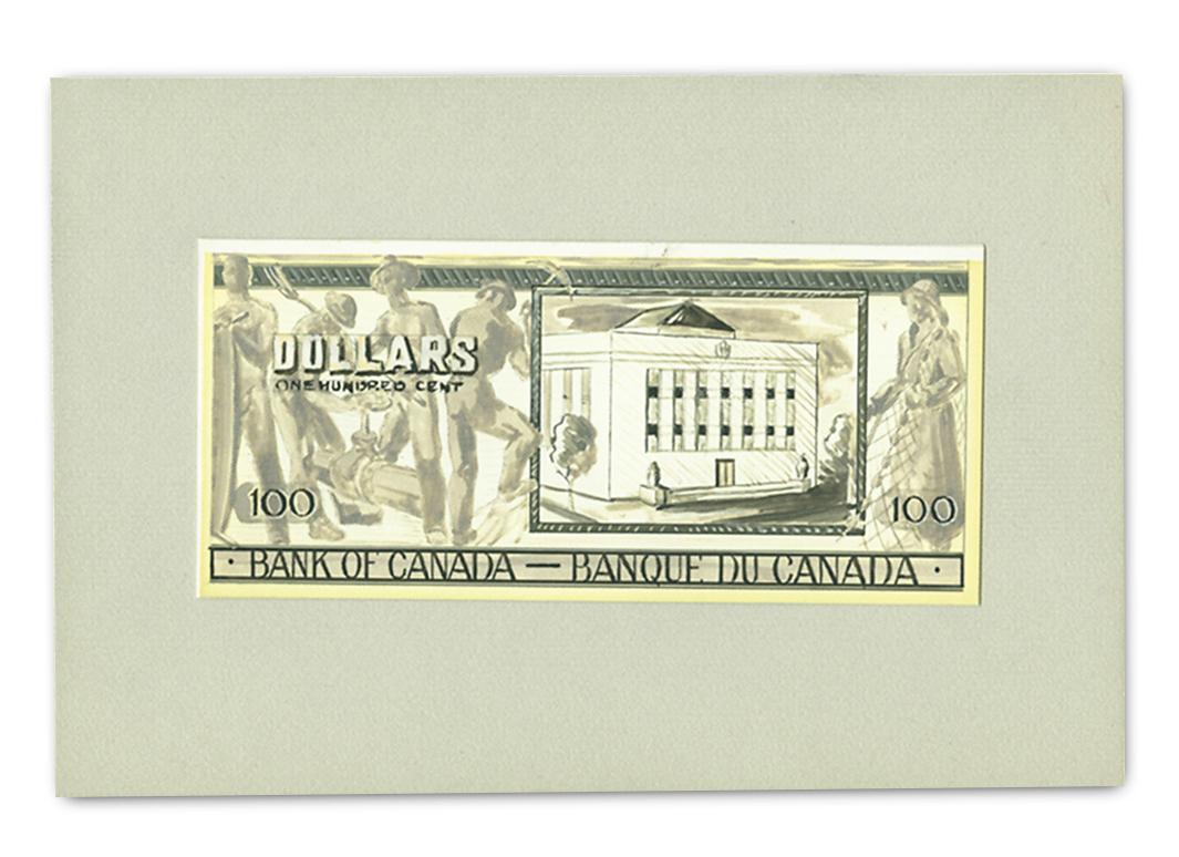 Sketch of a $100 bill back