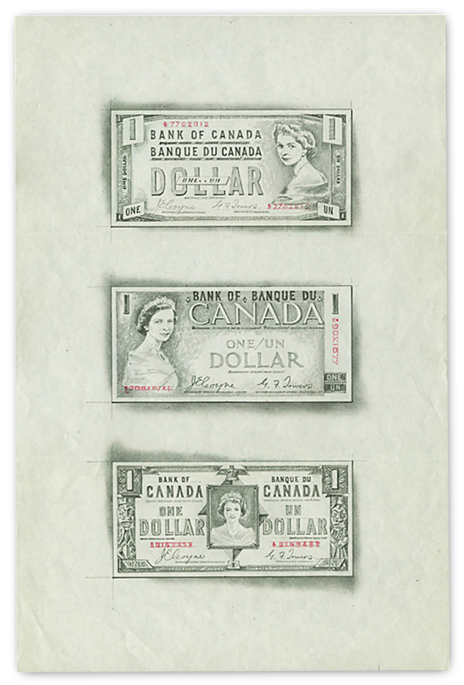 Three sketches of bank note