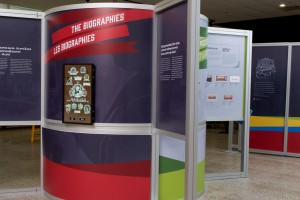 Exhibition panels and monitor