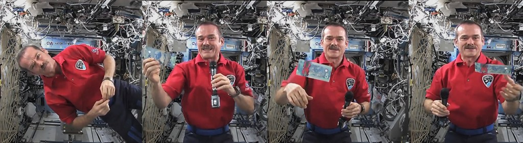 astronaut with a floating bank note