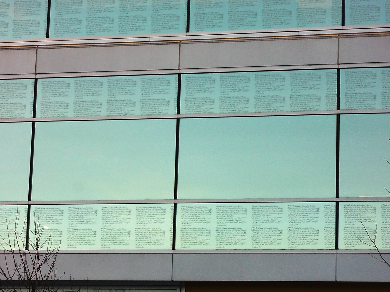 windows with etched handwriting on them