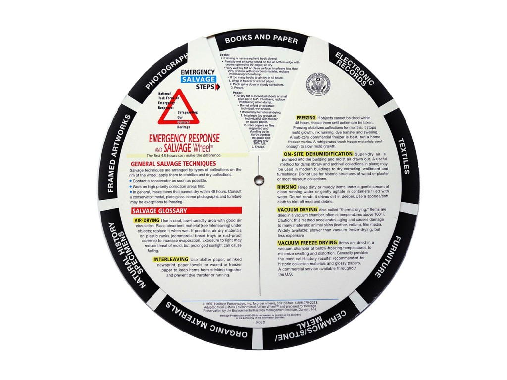 information wheel of damaged material conservation