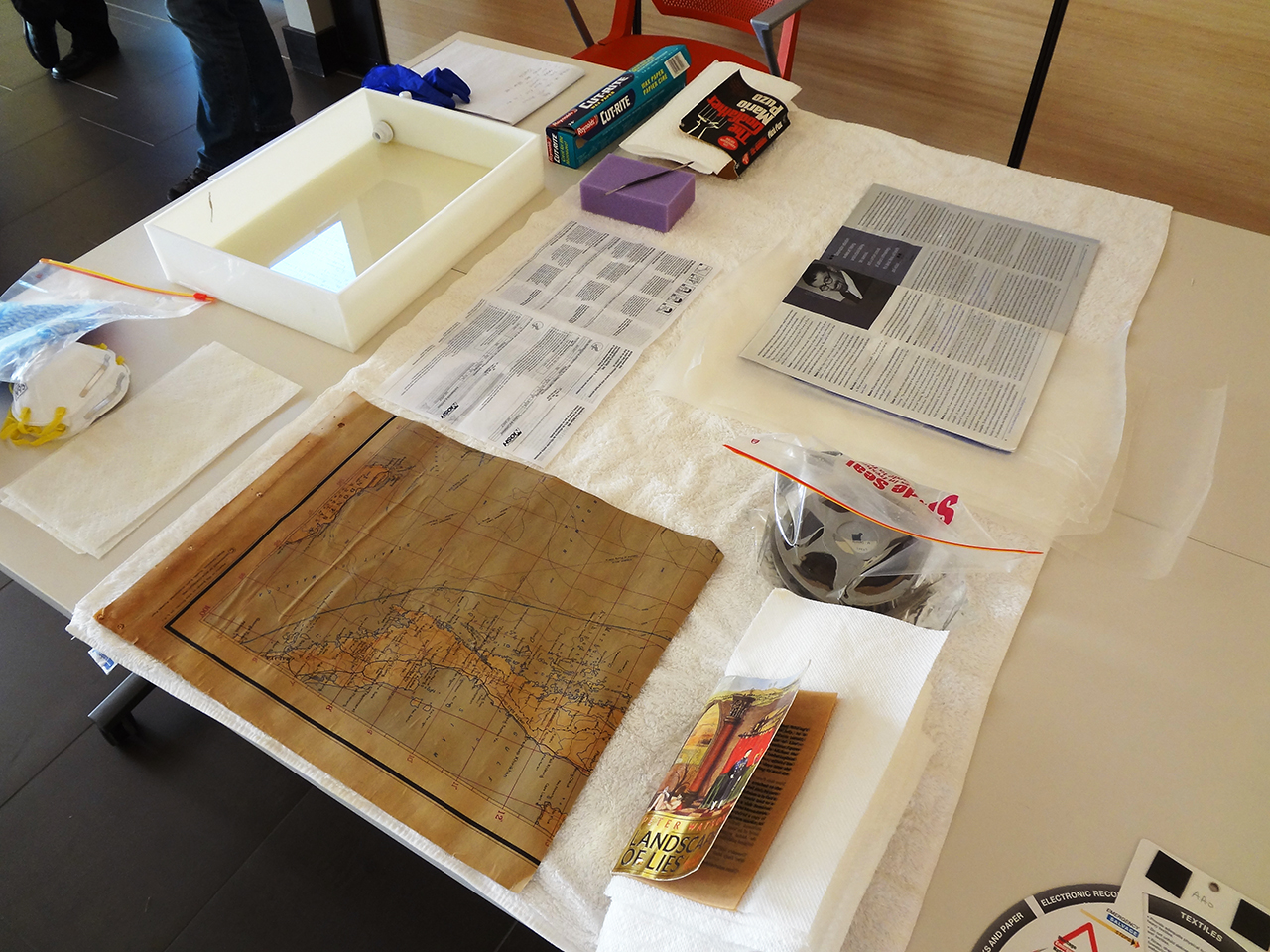 paper and media items used as practice materials