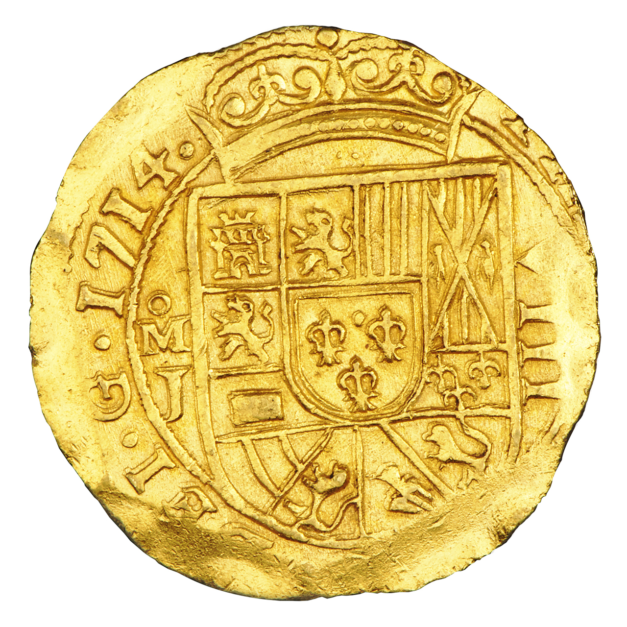 gold coin with a Spanish shield embossed on it