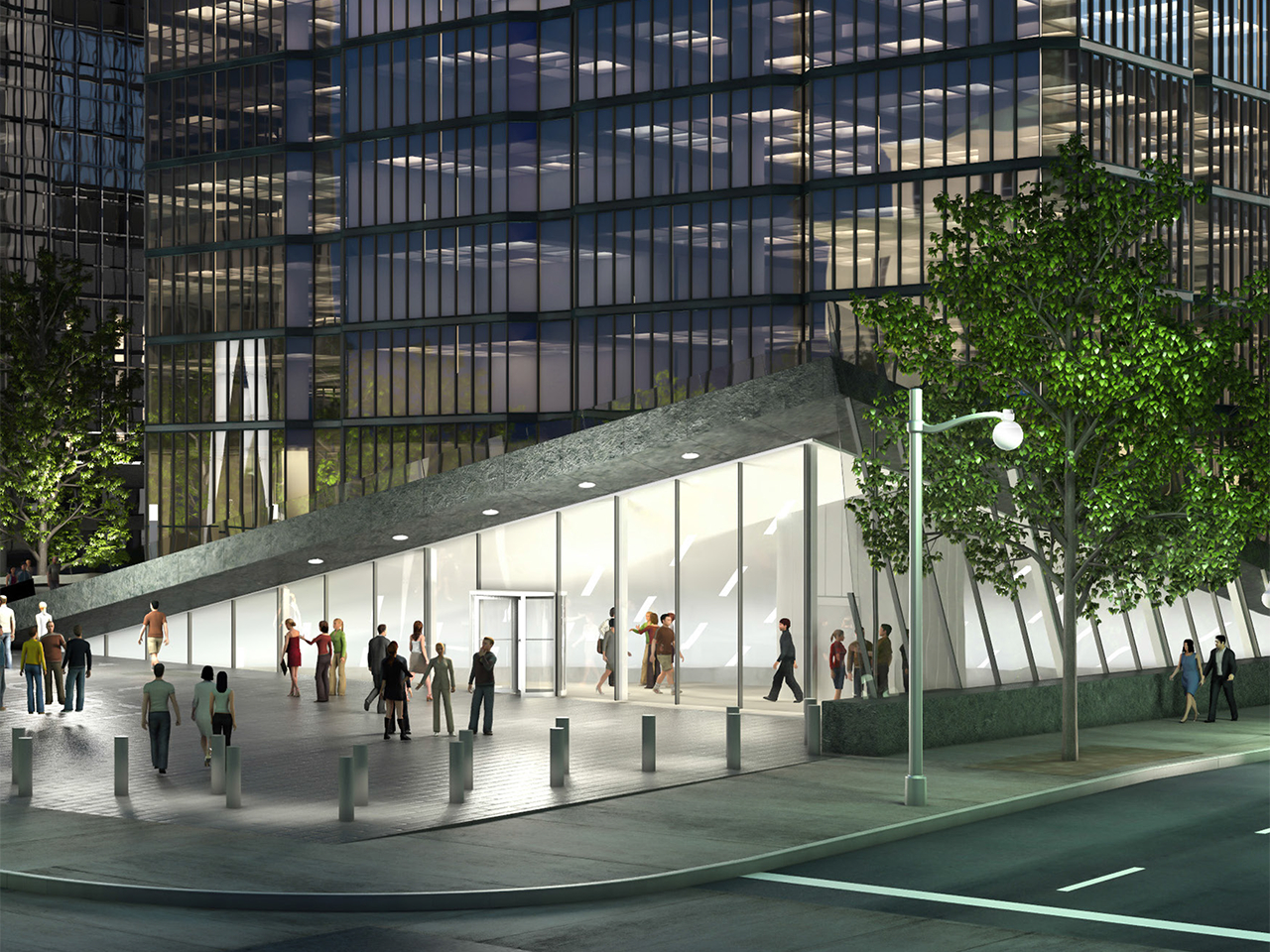 architectural rendering of the Bank of Canada Museum plaza and glass entranceway