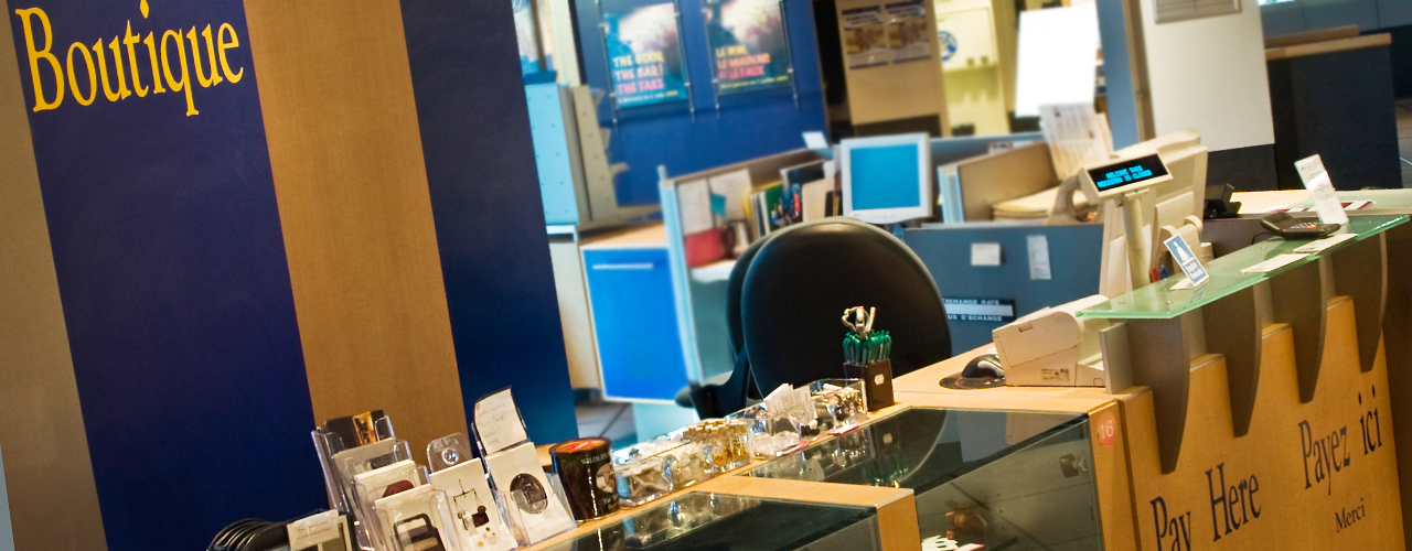 a museum gift shop counter