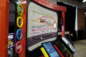 museum text panels, digital touch panels and large route map