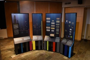 Museum display units with coins and bank notes