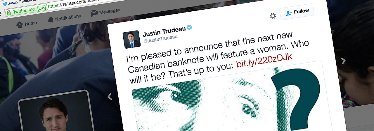 a tweet from the Prime Minister of Canada