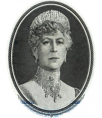 a bank note engraving of Queen Mary