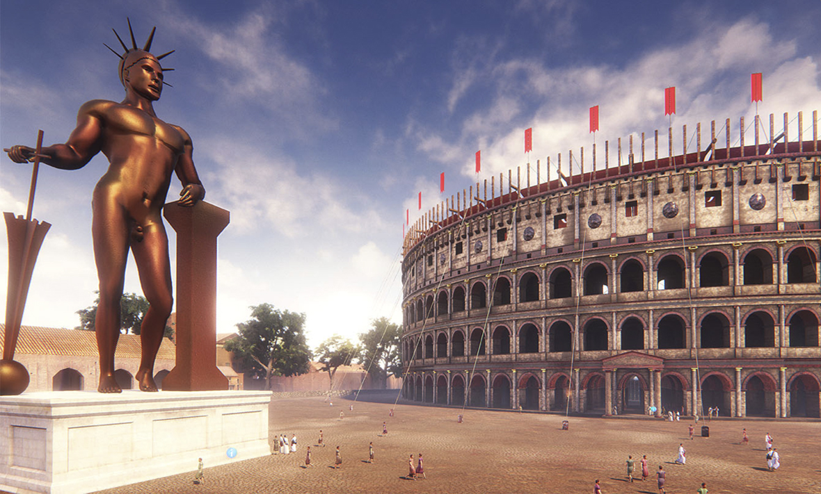 animated view of the Roman Colosseum featuring the statue of Nero