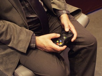 game controller manipulated by hands
