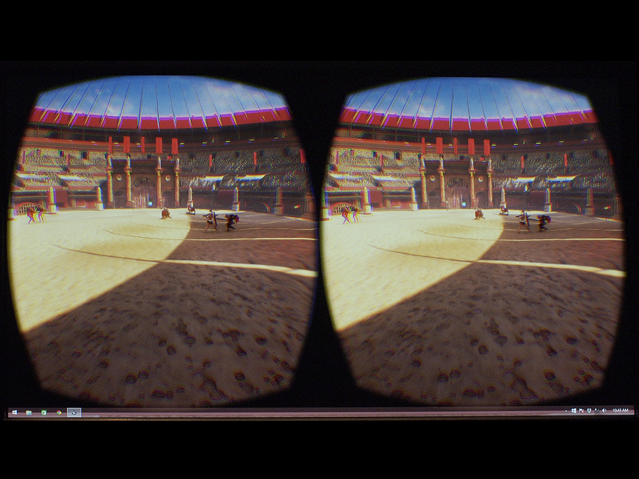 monitor showing two images of the Roman Colosseum that make up a 3D image